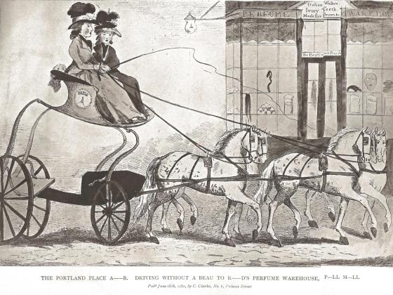 Lady Archer driving to the perfume warehouse in Pall Mall