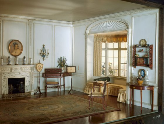 An English drawing room ca 1800 (from The Thorne Miniature Room collection)