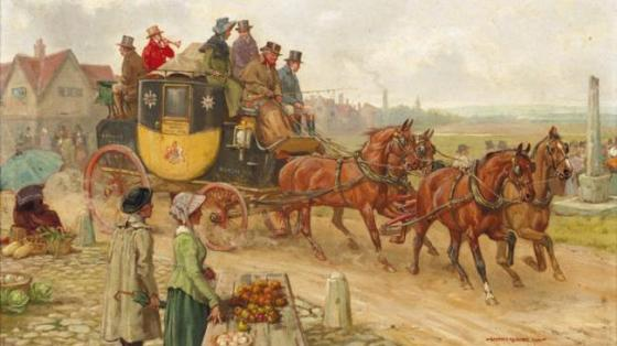The London to Manchester Mail Coach by George Goodwin Kilburne
