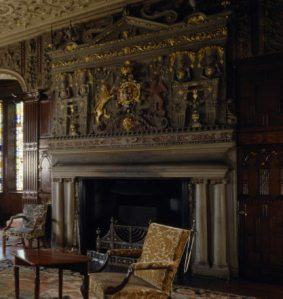 The drawing room fireplace at Lyme Park