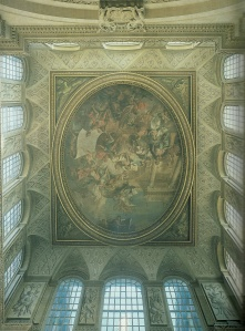 The ceiling in the Great hall at Blenheim Palace.