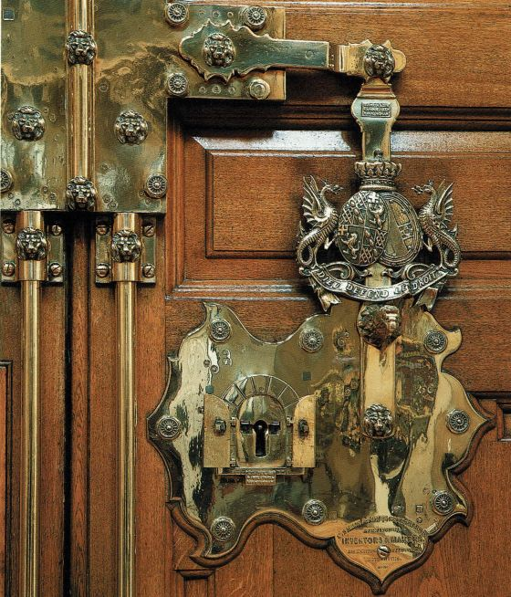 "Elaborate ""door furniture"" on the front door at Blenheim Palace."