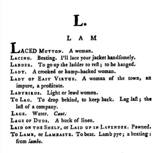 Entries from Grose's Dictionary of the Vulgar Tongue