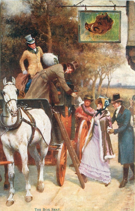 Detail of The Start showing a female passenger climbing up on the box, by Gilbert Wright