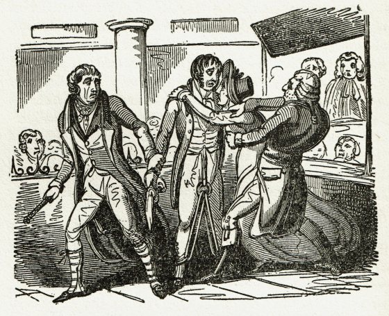 The reaction of one of Morris's wives upon hearing his sentence. From The Newgate Calendar.