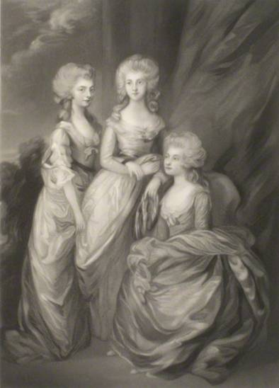 Princess Elizabeth (center) with her sisters Princess Augusta Sophia (left) and Charlotte Augusta Matilda, Princess Royal (seated). by Arthur N. Sanders, published by Henry Graves, after Thomas Gainsborough (1784) NPG D15000 © National Portrait Gallery, London