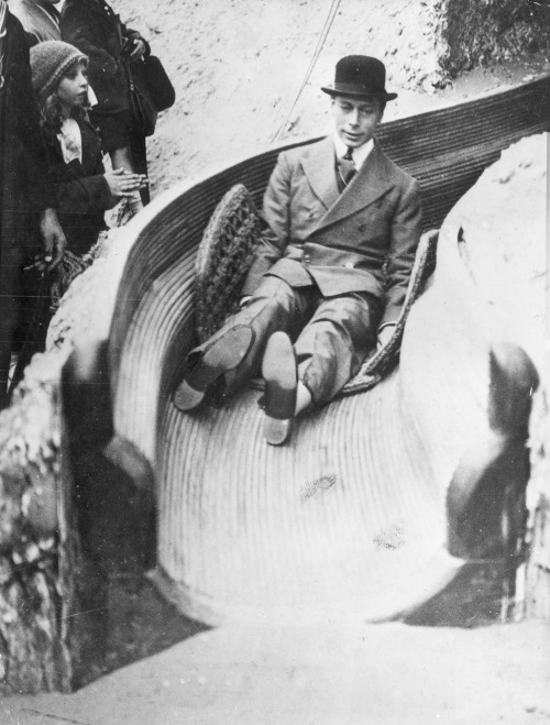The future King George VI on a Helter Skelter at Wembley Exhibition, London, 1925.