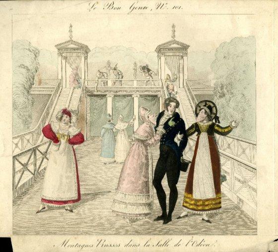 A gentleman and two masked revelers at a Helter Skelter slide; 1817.